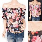 Sexy Chiffon Off Shoulders Floral Prints Short Sleeves Blouse Top