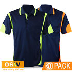 20 X MENS WOMENS MODERN COOL BREATHE HI VIS FLUORO PANEL POLO OFFICE WORK SHIRTS