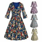 Women Vintage Floral Printed V Neck Middle Sleeve High Waist Casual Tea Dress