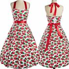 Strawberry Print Women Pinup Rockabilly Vintage Halter 50s 60s Swing Party Dress