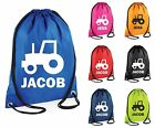 Personalised Tractor Gym Bag Swim Bag Drawstring School PE Kit Sack Sports Kids