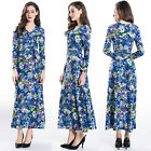 Elegant Women Floral Printed Long Autumn High Waist Cocktail Beach Dress Maxi A