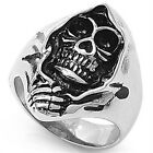 Stainless Steel Black Oxidized Skull Skeleton in Cloak Lucky Wide Ring Size 6-20