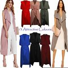 New Ladies Womens Sleeveless Belted Waterfall Duster Coat Maxi Jacket 8-14