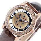 Fashion Women Lady Girls Leather Skeleton Crystal Sport Quartz Wrist Watch Gift