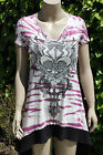 Vocal Tunic Shirt, Dark Pink Tie Dye with Black Angel Wings& Crystals ,  New