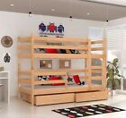 Bunk Bed  Wooden Childrens Solid Pine With Basic Foam Mattresses/2Storage Drawer
