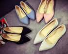 Womens Flat Oxford Dress Pointy Toe Faux suede Pumps Party Shoes Slip On Vogue