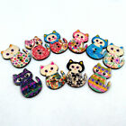 50 Pcs Wooden Cake Cat Buttons Sewing Scrapbooking Crafts DIY 2 Holes Retro