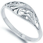 New 925 Sterling Silver Flower Floral Design Girl's Woman's Band Ring Size 1-11