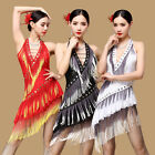 D957 Performance Latin Skirt Tassel Dress Rumba Samba Belly Dance Dress M/L
