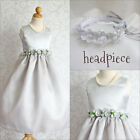 Adorable Silver grey bridal graduation recital flower girl party dress all sizes
