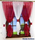 New Net Curtain Set of 5 pieces White and Vine/Green Voile Piping Ready Made