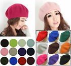 Girls Womens Beanie Beret Winter Warmer French Artist Hats Ski Caps Solid Gifts