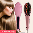 Hair Straightener Comb Iron Brush Massager LCD Electric Auto Temperature Control