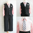Boy black pinstripe/light pink wedding party dress shirt vest and tie 4 pc set