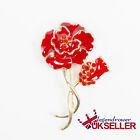UK Poppy Flower Crystal Brooches Red Pleated Pin Enamel Badges Pins Remembrance