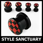 Black & Red Checkerboard Flesh Plug Ear Stretcher Tunnel Screw-on Fit Check NEW