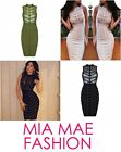 WOMENS CELEBRITY TIGHT BANDAGE STUDDED RIVETS SLEEVELESS BODYCON DRESS FASHION