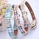 Adjustable Plaid Dog Collar Durable PU Leather Bling Rhinestones Puppy Collar
