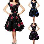 Elegant Womens Vintage Floral Printed Summer Party Short Sleeve Housewife Dress