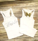 Perfect wedding gift. Bride Junior White Tank Top Shirt Wedding WITH BOW!!!