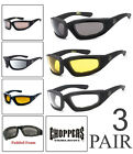 Внешний вид - 3 PAIRS Choppers Padded Foam Wind Resistant Sunglasses Motorcycle Riding Glasses