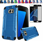 (Full Cover) Tempered Glass+2Layer Hybrid Brush Case Cover For Samsung Galaxy S7