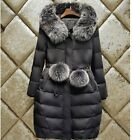 Women Down Jacket Long Coat Hooded Winter Fur Collar Warm Slim Fit Outerwear