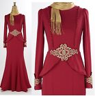 Abaya Womens Long Sleeve Long Maxi Evening Cocktail Event Dress Ornaments Red