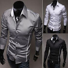 Hot Selling Men's Casual Style Dress Slim Fit Shirts Long Sleeve T-shirt Black