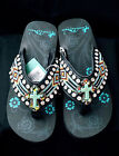 NEW Montana West Cowgirl Western Stone Bling Flip Flops Wedge Sandals Aztec MWE4