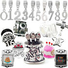 Birthday Charms Number Pendant Dangle Beads Fit Silver European Charm Bracelets