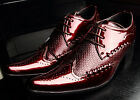 Fashion Mens Formal Lace Up Pointy Toe Low Block Heel Shoes Business Dress Shoes