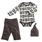 "Baby Soy Neutral 3 Piece Ivory/Brown Alphabet ""P"" Printed  Bodysuit, Pant & Ha"