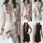 Summer Women V-neck Long Sleeve Top Loose Blouse T-shirt Long Dress Plus Size