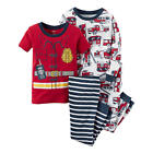 Carter's Boys 4 Piece Red/Blue Firetruck Pajama Set - Toddler