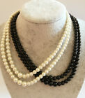 Faux Pearl Beaded Gatsby Necklace Chain Vintage Style - Various Colours & Sizes