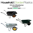 110 LITRE GARDEN/EQUESTRIAN/BUILDERS STEEL/METAL WHEELBARROW BLACK/GREEN/GREY