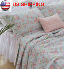 3PCS Double Floral Blue Cotton Quilt Coverlet Bedspread Set Shabby French Chic image