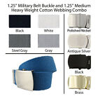 """1.25"""" Canvas Military Web Belt, 43 Colors, 6 Finishes and 12 Sizes FREE SHIPPING"""