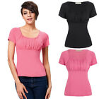 WOMENS NEW CASUAL PLAIN SCOOP NECK RUCHED TOPS  SHORT SLEEVE BASIC T-SHIRTS SLIM