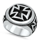 Stainless Steel Iron Chopper Three Crosses Wide 20 mm Band Biker Ring Sizes 8-17