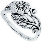925 Sterling Silver Beautiful Flower w/ Leaves Promise Woman's Ring Size 1-12