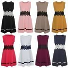 Girls Sleeveless Lace Waist Skater Dress Textured Casual Party Top Skirt 3-14 Y