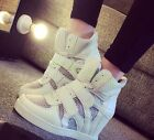 Womens Wedge Heel Leisure Velcro Lace Up Shoes Mesh Breathable Sneakers Stylish