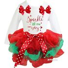 Xmas Red Green Petal Tutu & Sparkle All The Way White Outfit