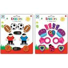 10 Novelty Pencil Erasers Rubbers 2 Assorted Designs Colourful For Girls or Boys