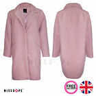 NEW PINK OVERSIZED WINTER COAT PARKA WINTER BUTTON WARM WOMENS LINED TRENCH UK