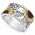 925 Sterling Silver Sunflower 10mm Wide Cocktail Woman's Band Ring Size 2-12 NEW